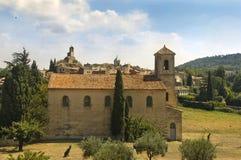 新教徒寺庙在Lourmarin,普罗旺斯 免版税库存照片