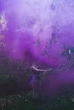 Louro atrás do fumo violeta, fora imagens de stock