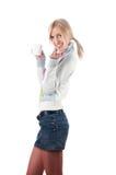Louro bonito em uma camisola Fotos de Stock