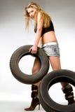 Louro com pneumáticos Fotografia de Stock Royalty Free