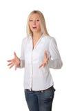 Louro de sorriso novo em uma camisa branca Imagem de Stock Royalty Free
