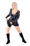 Louro no vestido partido-colorido Imagens de Stock Royalty Free