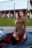 Louro quente em um carro do cabrio fotos de stock royalty free