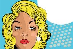 Louro retro do estilo cómico beaitiful triste do tatuagem da face da mulher ilustração do vetor