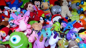 Louse up of Kids toys for sale at opened Christmas market in Cuenca, Ecuador. royalty free stock photography