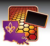 Lousiana state icon on orange hexagon banner Royalty Free Stock Photography