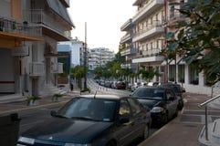 Loutraki - cidade-recurso em costas de mar Ionian foto de stock