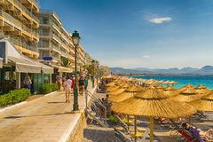 Loutraki, Greece 12 June 2016. Everyday life at Loutraki in Gteece with people enjoying their summer vacations. Stock Image