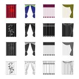 Louvers, curtains, light, and other web icon in cartoon style.Tails, textiles, blind icons in set collection. Stock Photos