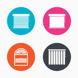 Louvers icons. Plisse, vertical and rolls Stock Images