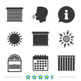 Louvers icons. Plisse, vertical and rolls. Louvers icons. Plisse, rolls, vertical and horizontal. Window blinds or jalousie symbols. Information, go to web and Stock Image