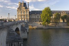 Louvre. France Paris Louvre Summer 2012 late August evening, the sunset over the Seine stock image