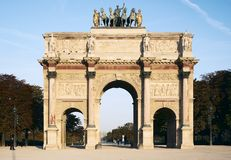 Louvre - arch of triumph of carrousel. Triumphal arch on the square of carrousel stock photos