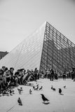 The Louvre in Black and White with visitors Royalty Free Stock Photo