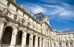 Louvre building in Paris. Wide angle view Royalty Free Stock Photo