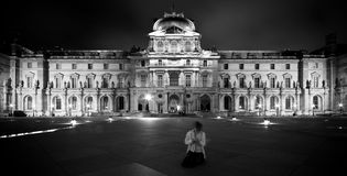 Louvre Detail at Night Royalty Free Stock Photo