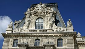 Louvre Details. Close up shot of the roof top of Louvre in Paris Stock Image