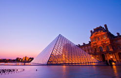 Louvre at dusk Royalty Free Stock Images