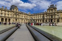 Louvre facade in Paris royalty free stock images