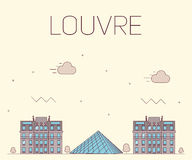 Louvre flat design for postcard Royalty Free Stock Images