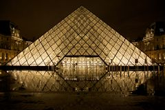 Louvre, Glass Pyramid, Paris Royalty Free Stock Photography