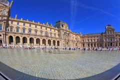 The Louvre - a huge bowl magnificent fountain Stock Images