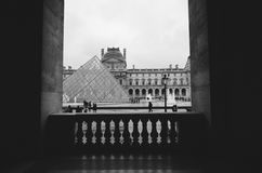 Louvre. I love this captured by me, processed in black and white royalty free stock images