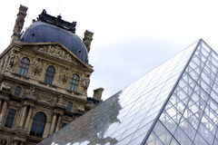 The Louvre. The infamous pyramid at the Musee du Louvre stock image