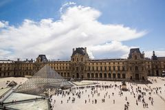 A beautiful European city. Euro-trip. Louvre, the largest museum in the world. Louvre Pyramid. Travel through Europe. Attractions in France. Sunny Paris. Clouds Stock Images