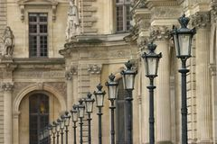 Louvre Lights. Street lights at the Louvre, Paris Royalty Free Stock Images