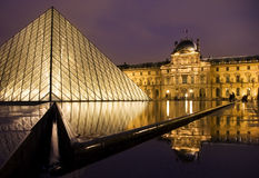 Louvre Museum. Illuminated at night Royalty Free Stock Images