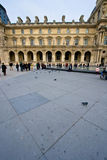 Louvre Museum. Wide angle view of the Louvre Museum interior plaza Royalty Free Stock Image