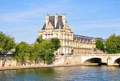 The Louvre Museum as seen from the Seine. Paris. Royalty Free Stock Images