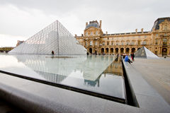 Louvre Museum with cloudy day 1 Stock Photography
