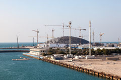 Louvre museum construction in Abu Dhabi royalty free stock image