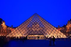 Louvre Museum dusk Stock Photos