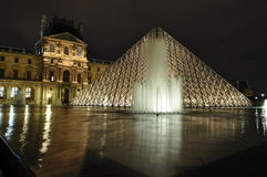 Louvre Museum with fountain Stock Photography