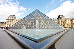 Louvre Museum and the glass pyramid 3 Stock Photos