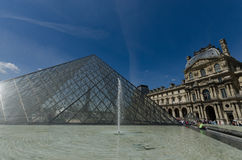 Louvre Museum, Glass Pyramid and fountain Stock Images