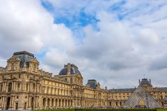 Louvre Museum and the glass pyramid, one of the most famous museums in the world, Paris, France stock image