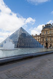 Louvre Museum with Glass Pyramids, Famous Landmark in Paris France Stock Image