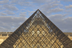 Louvre Museum, The Great Pyramid at sunset, Paris France - August 5, 2015 Royalty Free Stock Photo