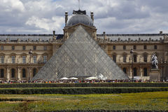 Louvre Museum, The Great Pyramid at sunset, Paris France - August 5, 2015 Royalty Free Stock Photos
