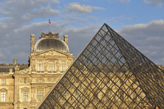 Louvre Museum, The Great Pyramid at sunset, Paris France- August 5, 2015 Stock Photos