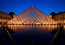 Louvre Museum night Stock Image