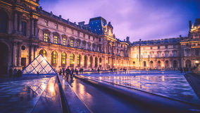 Louvre Museum at night Royalty Free Stock Photos