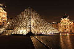 Louvre Museum at night, France Stock Images