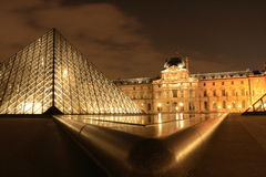 Louvre Museum at night, France Royalty Free Stock Photos