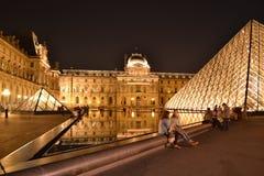 Louvre Museum. At night, Paris Stock Photos