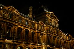 Louvre museum at night Stock Photography